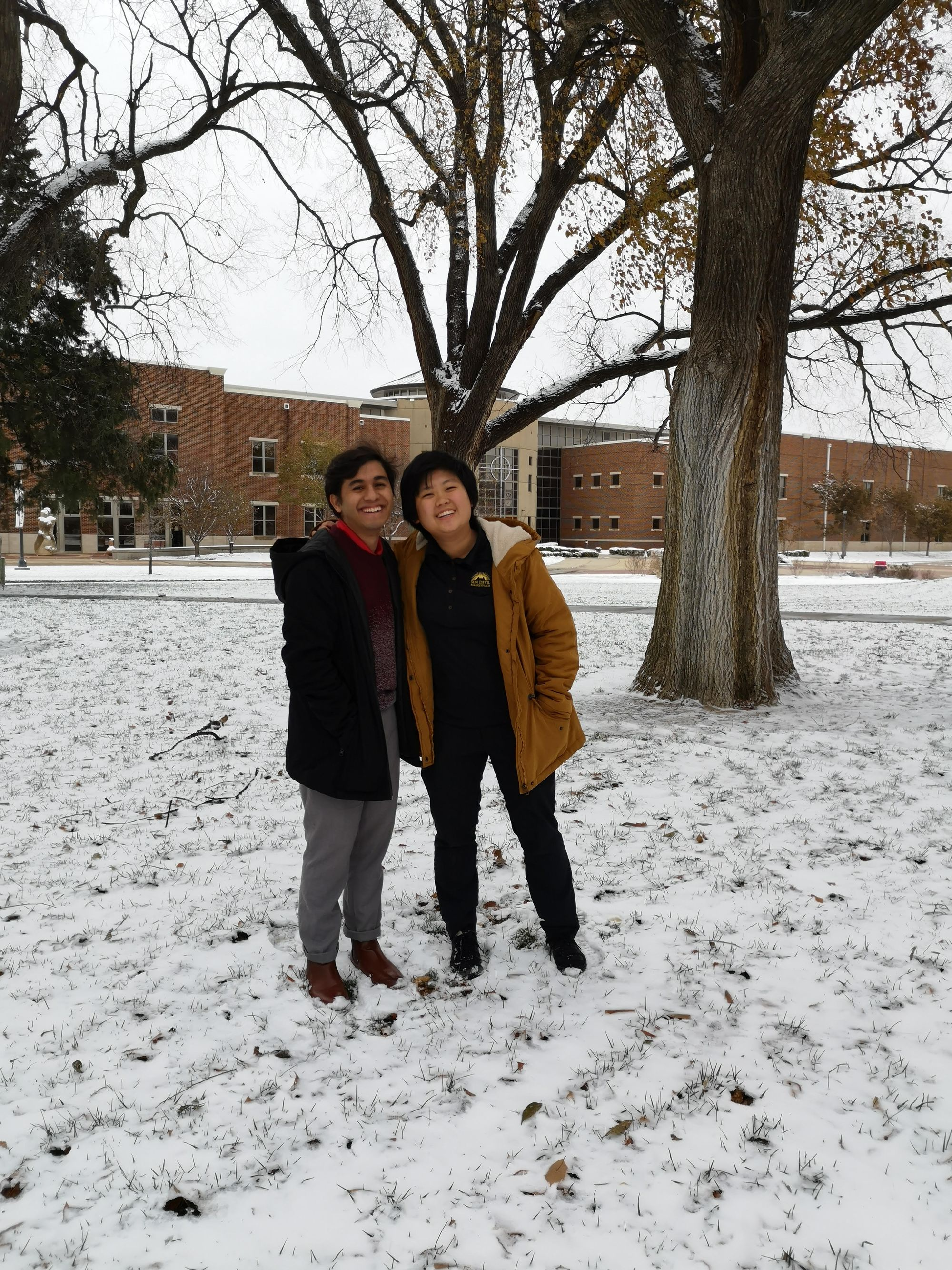 MYSTERIOUS WHITE STUFF: Newman students experience their first snow
